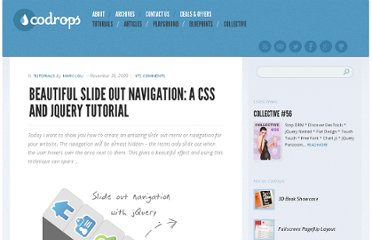 http://tympanus.net/codrops/2009/11/30/beautiful-slide-out-navigation-a-css-and-jquery-tutorial/