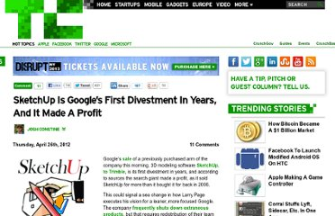 http://techcrunch.com/2012/04/26/sketchup-google-first-divestment/