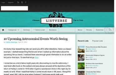 http://listverse.com/2012/04/27/10-upcoming-astronomical-events-worth-seeing/