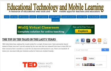 http://www.educatorstechnology.com/2012/04/top-20-ted-talks-in-last-5-years.html