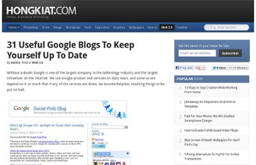 http://www.hongkiat.com/blog/31-useful-google-blogs-to-keep-yourself-up-to-date/