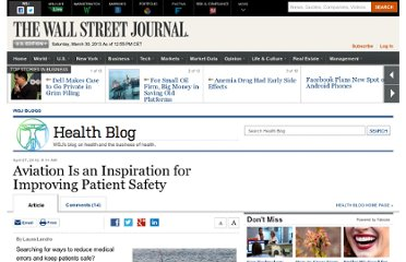 http://blogs.wsj.com/health/2012/04/27/aviation-is-an-inspiration-for-improving-patient-safety/
