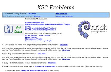 http://www.suffolkmaths.co.uk/pages/1ProblemSolving_KS3.htm