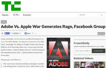 http://techcrunch.com/2010/04/10/adobe-vs-apple-war-generates-rage-facebook-group/