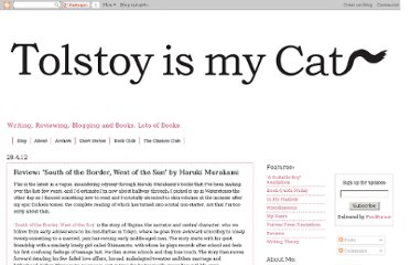 http://www.tolstoyismycat.com/2012/04/review-south-of-border-west-of-sun-by.html