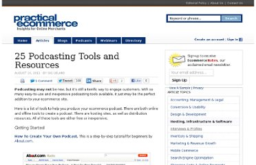 http://www.practicalecommerce.com/articles/2989-25-Podcasting-Tools-and-Resources