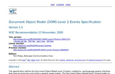 http://www.w3.org/TR/2000/REC-DOM-Level-2-Events-20001113/Overview.html#contents