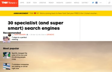 http://thenextweb.com/lifehacks/2012/04/29/30-specialist-and-super-smart-search-engines/