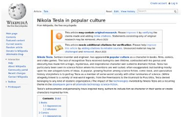 http://en.wikipedia.org/wiki/Nikola_Tesla_in_popular_culture