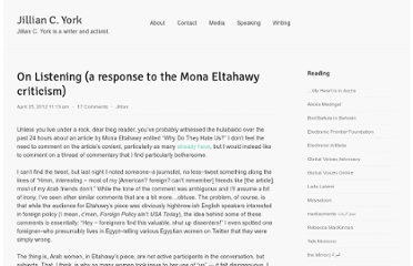 http://jilliancyork.com/2012/04/25/on-listening-a-response-to-the-mona-eltahawy-criticism/