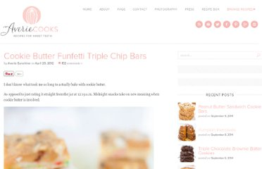 http://www.loveveggiesandyoga.com/2012/04/cookie-butter-funfetti-triple-chip-bars.html