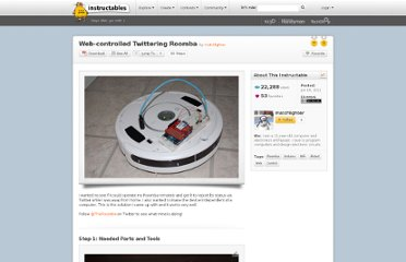 http://www.instructables.com/id/Web-controlled-Twittering-Roomba/#step1
