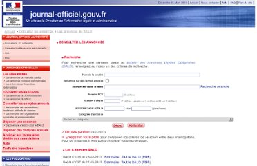 http://www.journal-officiel.gouv.fr/balo/index.php