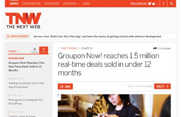 http://thenextweb.com/insider/2012/04/30/groupon-now-reaches-1-5-million-real-time-deals-sold-in-under-one-year/