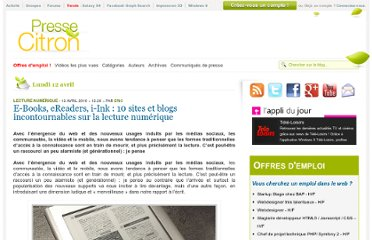 http://www.presse-citron.net/e-books-ereaders-i-ink-10-sites-et-blogs-incontournables-sur-la-lecture-numerique