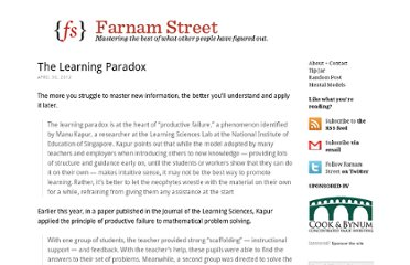 http://www.farnamstreetblog.com/2012/04/the-learning-paradox/