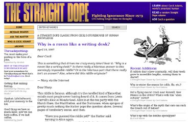 http://www.straightdope.com/columns/read/1173/why-is-a-raven-like-a-writing-desk