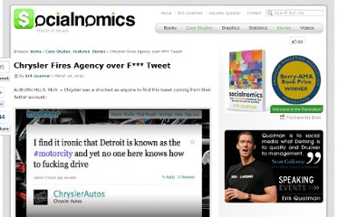 http://www.socialnomics.net/2011/03/14/chrysler-fires-agency-over-f-tweet/