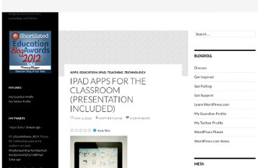 http://mattbritland.com/2012/05/01/ipad-apps-for-the-classroom-presentation-included/