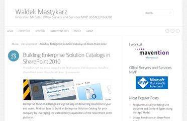 http://blog.mastykarz.nl/building-enterprise-solution-catalogs-sharepoint-2010/