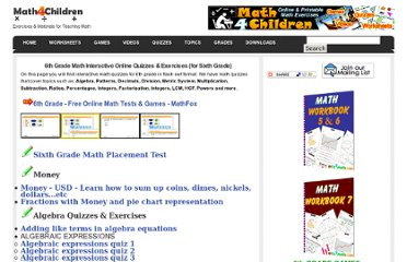 http://www.math4children.com/Grade6/quizzes/index.html