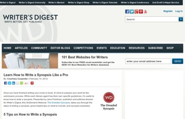 http://www.writersdigest.com/editors-picks/learn-how-to-write-a-synopsis-like-a-pro
