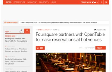 http://thenextweb.com/apps/2012/05/02/foursquare-partners-with-opentable-to-make-reservations-at-hot-venues/