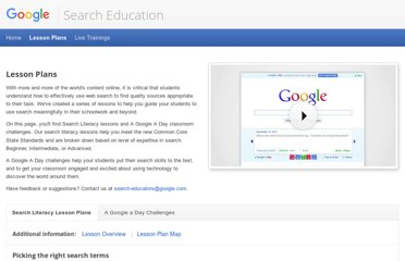 http://www.google.com/insidesearch/searcheducation/lessons.html