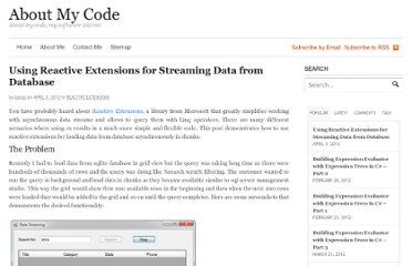 http://www.aboutmycode.com/reactive-extensions/using-reactive-extensions-for-streaming-data-from-database/