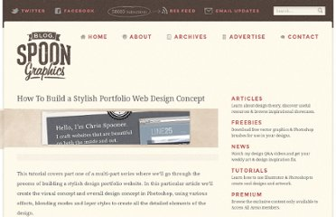 http://blog.spoongraphics.co.uk/tutorials/how-to-build-a-stylish-portfolio-web-design-concept