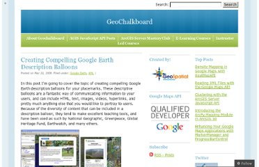 http://geochalkboard.wordpress.com/2008/05/22/creating-compelling-google-earth-description-balloons/