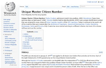 http://en.wikipedia.org/wiki/Unique_Master_Citizen_Number