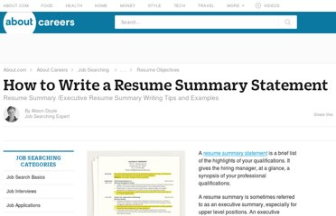 http://jobsearch.about.com/od/includeinresume/a/how-to-write-a-resume-summary.htm