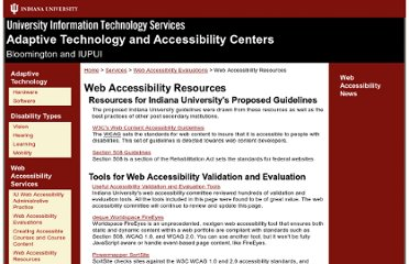 http://www.indiana.edu/~iuadapts/services/web-accessibility/resources.html