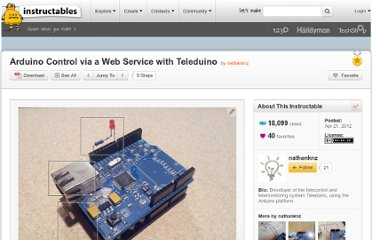 http://www.instructables.com/id/Arduino-Control-via-a-Web-Service-with-Teleduino/#step1