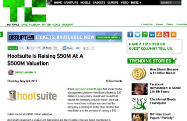 http://techcrunch.com/2012/05/03/hootsuite-is-raising-50m-at-a-500m-valuation/