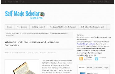http://selfmadescholar.com/b/2009/04/14/where-to-find-free-literature-and-literature-summaries/