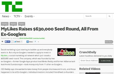 http://techcrunch.com/2010/04/13/mylikes-raises-630000-seed-round-all-from-ex-googlers/