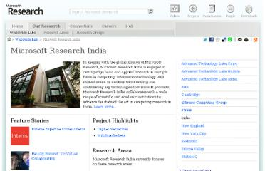 http://research.microsoft.com/en-us/labs/india/default.aspx