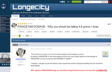http://www.longecity.org/forum/topic/54322-piracetam-dosage-why-you-should-be-taking-48-grams-dose/