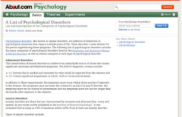 http://psychology.about.com/od/psychotherapy/tp/list-of-psychological-disorders.htm