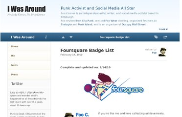 http://www.iwasaround.com/social-media/foursquare-badge-list/