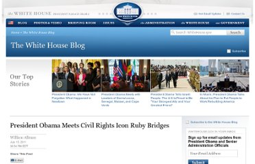 http://www.whitehouse.gov/blog/2011/07/15/president-obama-meets-civil-rights-icon-ruby-bridges