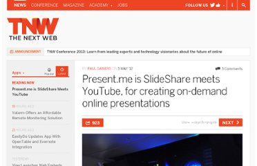 http://thenextweb.com/apps/2012/05/05/present-me-is-slideshare-meets-youtube-for-creating-on-demand-online-presentations/