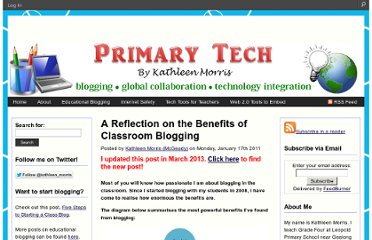 http://primarytech.global2.vic.edu.au/2011/01/17/a-reflection-on-the-benefits-of-blogging/