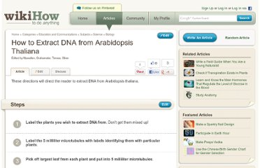 http://www.wikihow.com/Extract-DNA-from-Arabidopsis-Thaliana