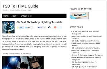 http://psdtohtmlguide.com/60-best-photoshop-lighting-tutorials/