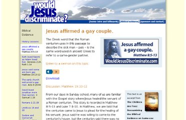 http://www.wouldjesusdiscriminate.org/biblical_evidence/gay_couple.html