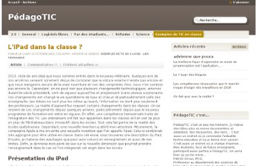 http://pedagotic.uqac.ca/?post/2010/10/09/L-ipad-dans-la-classe