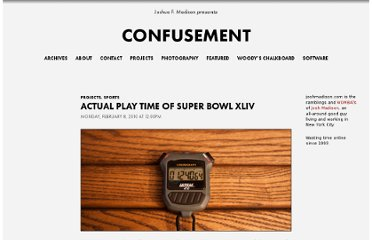 http://joshmadison.com/2010/02/08/actual-play-time-of-super-bowl-xliv/